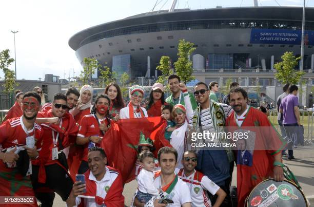 Morocco's fans arrive at the Saint Petersburg Stadium before the Russia 2018 World Cup Group B football match between Morocco and Iran on June 15,...