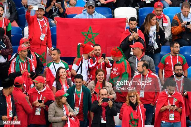 Morocco's fans wait in grandstand before the Russia 2018 World Cup Group B football match between Spain and Morocco at the Kaliningrad Stadium in...