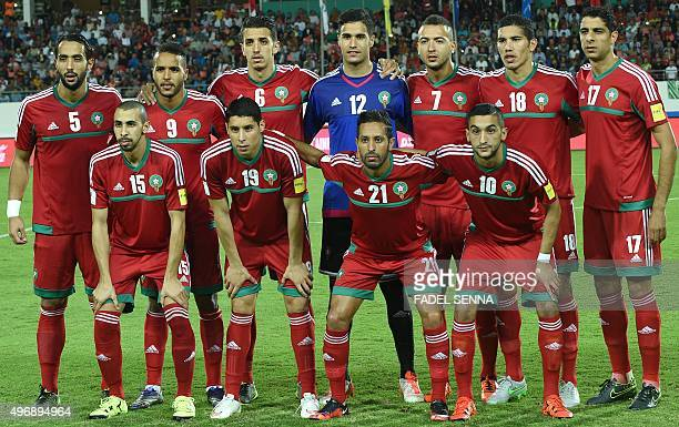 Morocco's Football team poses for a photo during the World Cup 2018 qualifier football match between Morocco and Equatorial Guinea on November 12...