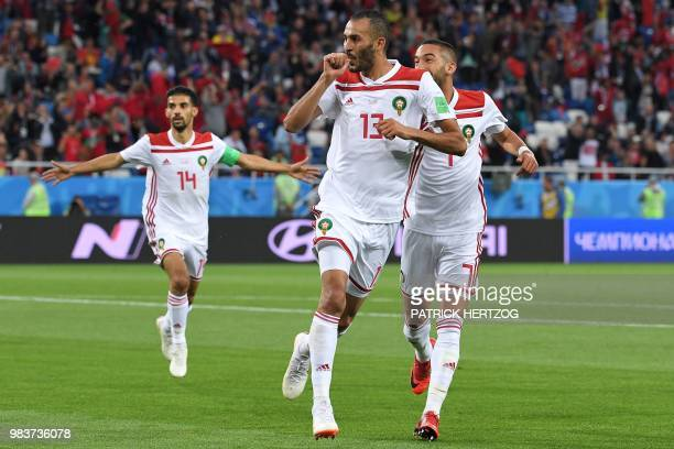 TOPSHOT Morocco's forward Khalid Boutaib celebrates a goal during the Russia 2018 World Cup Group B football match between Spain and Morocco at the...