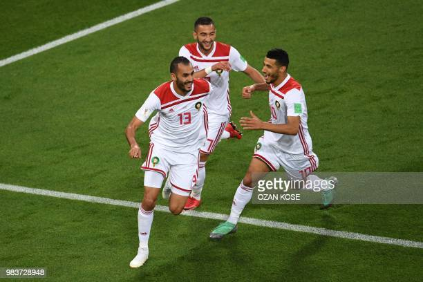 Morocco's forward Khalid Boutaib celebrates after scoring the opener during the Russia 2018 World Cup Group B football match between Spain and...