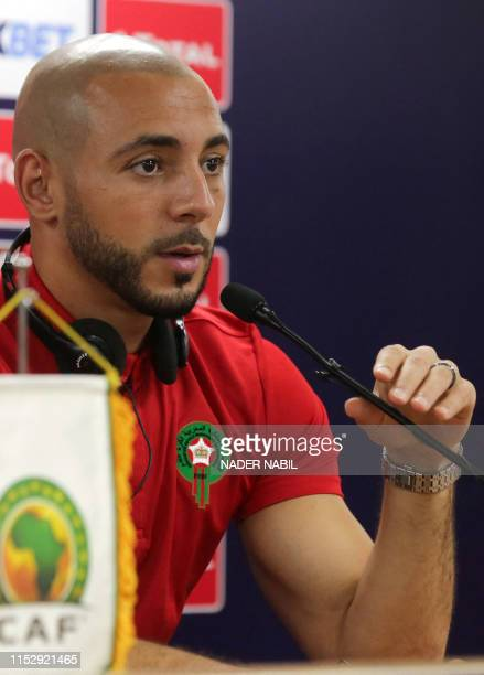 Morocco's forward Nordin Amrabat attends a press conference in the capital Cairo on June 30 on the eve of the 2019 Africa Cup of Nations Group A...