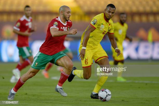 Morocco's forward Nordin Amrabat fights for the ball with Benin's defender Olivier Verdon during the 2019 Africa Cup of Nations Round of 16 football...