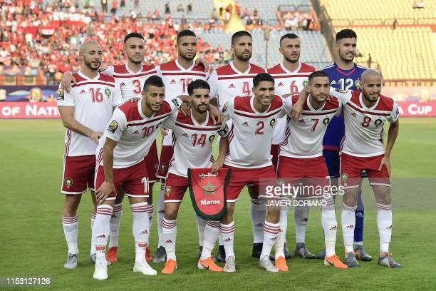 Morocco's forward Nordin Amrabat Morocco's defender Noussair Mazraoui Morocco's forward Youssef EnNesyri Morocco's defender Manuel da Costa Morocco's...