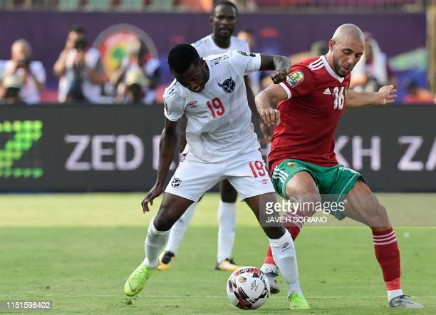 Morocco's forward Nordin Amrabat vies for the ball with Namibia's midfielder Petrus Shitembi during the 2019 Africa Cup of Nations football match...