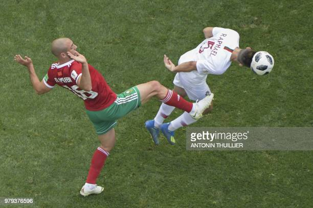 Morocco's forward Noureddine Amrabat and Portugal's defender Raphael Guerreiro vie for the ball during the Russia 2018 World Cup Group B football...