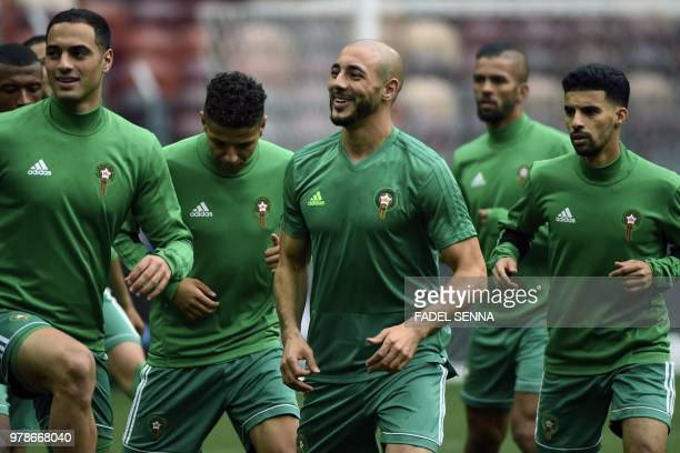 Morocco's forward Noureddine Amrabat attends a training session at the Luzhniki Stadium in Moscow on June 19 on the eve of the Russia 2018 World Cup...