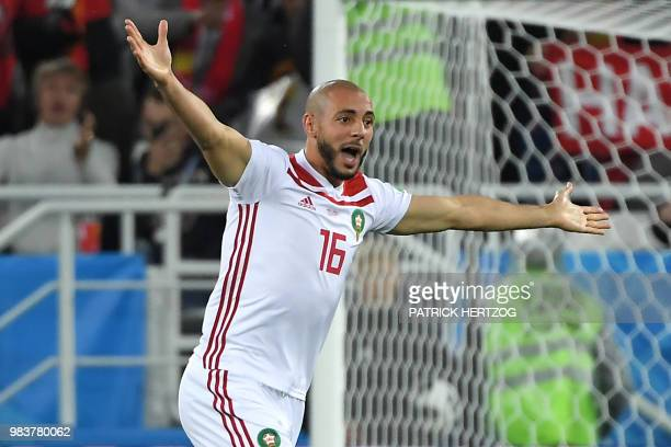 Morocco's forward Noureddine Amrabat gestures during the Russia 2018 World Cup Group B football match between Spain and Morocco at the Kaliningrad...