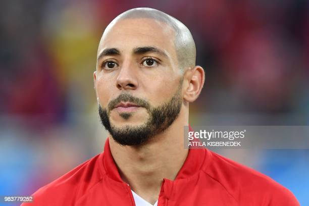 Morocco's forward Noureddine Amrabat listens to the national anthem before the Russia 2018 World Cup Group B football match between Spain and Morocco...