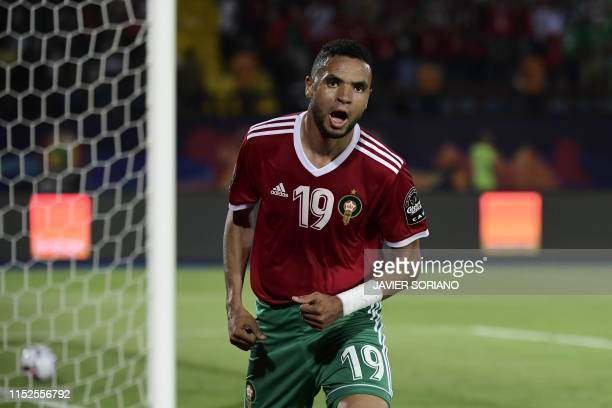 Morocco's forward Youssef EnNesyri celebrates after scoring during the 2019 Africa Cup of Nations Group D football match between Morocco and Ivory...