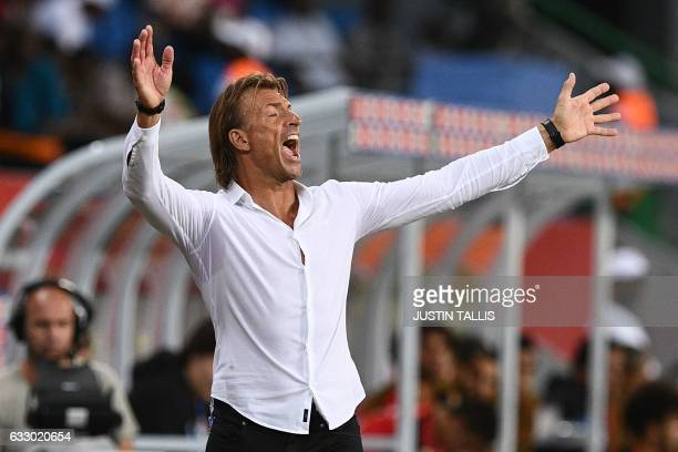 Morocco's French coach Herve Renard reacts during the 2017 Africa Cup of Nations quarterfinal football match between Egypt and Morocco in PortGentil...