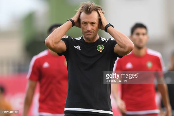 Morocco's French national football team coach Herve Renard takes part in a training session in PortGentil on January 27 during the 2017 Africa Cup of...