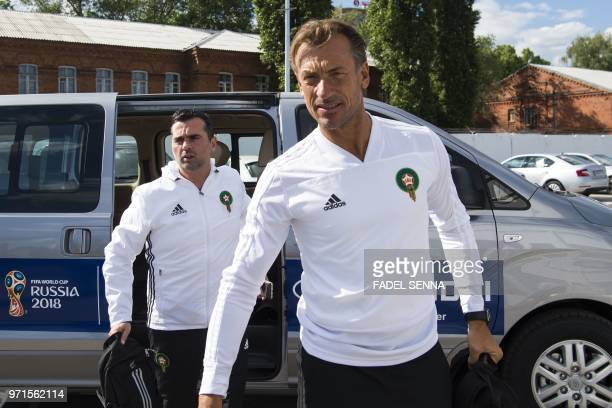 Morocco's head coach Herve Renard arrives for a training session of Morocco national football team in Voronezh on June 11 ahead of the Russia 2018...