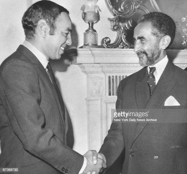 Morocco's King Hassan and Emperor Haile Selassie of Ethopia meet in Carlyle Hotel Manhattan
