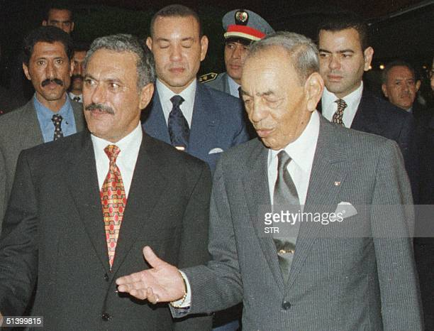 Morocco's King Hassan II welcomes Yemen's President Ali Abdallah Saleh at the Skhirat Palace in Rabat late 21 July 1999 Saleh is on a 24hour visit to...