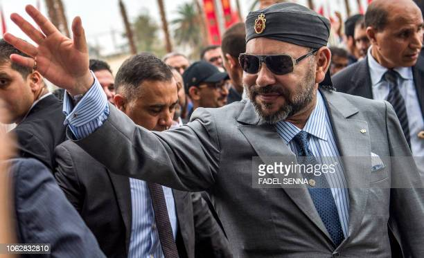 Morocco's King Mohamed VI arrives for the inauguration of the capital Rabat's Agdal train station for the new LGV line on November 17 2018