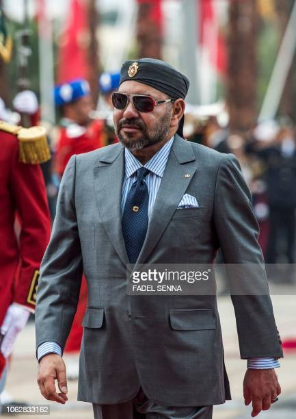 Morocco's King Mohamed VI arrives for the inauguration of the capital Rabat's Agdal train station for the new LGV line on November 17 2018