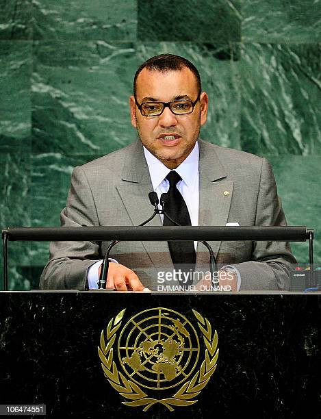 Morocco's King Mohammed VI addresses the Millennium Development Goals Summit at the United Nations headquarters in New York September 20 2010 AFP...