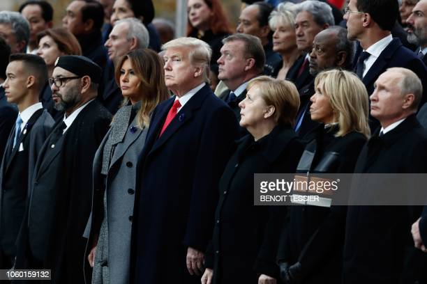 Morocco's King Mohammed VI and his son Crown Prince Hassan Moulay US First Lady Melania Trump US President Donald Trump German Chancellor Angela...