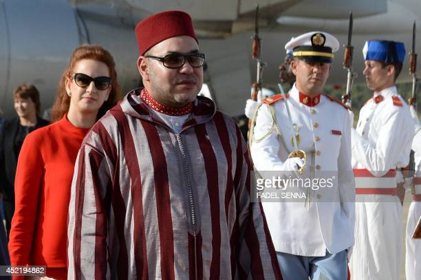 Morocco's King Mohammed VI and Morocco's Princess Lalla Salma attend a departure ceremony for King Felipe VI and Queen Letizia of Spain at Rabat...