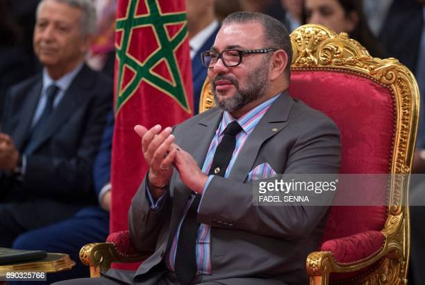 Morocco's King Mohammed VI attends a signing ceremony between Morocco and France's top car manufacturers at the Royal Palace in Casablanca on...