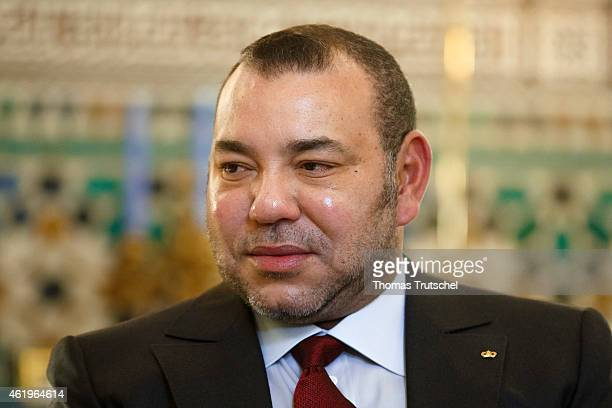 Morocco's King Mohammed VI is seen during a meeting with German Foreign Minister FrankWalter Steinmeier on January 22 2015 in Marrakesh Morocco