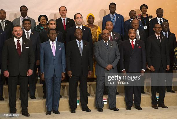Morocco's King Mohammed VI poses with African leaders for a family picture during the Africa Action Summit on the sidelines of the COP22 Climate...