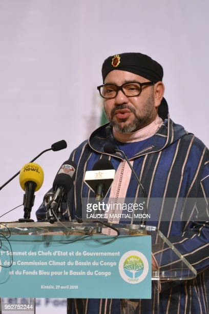 Morocco's King Mohammed VI speaks during a summit on the Congo River Fonds bleu du Bassin du Congo on April 29 2018 in Brazzaville King Mohammed VI...