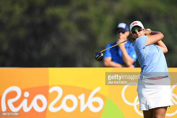 Morocco's Maha Haddioui competes in the Women's individual stroke play at the Olympic Golf course during the Rio 2016 Olympic Games in Rio de Janeiro...