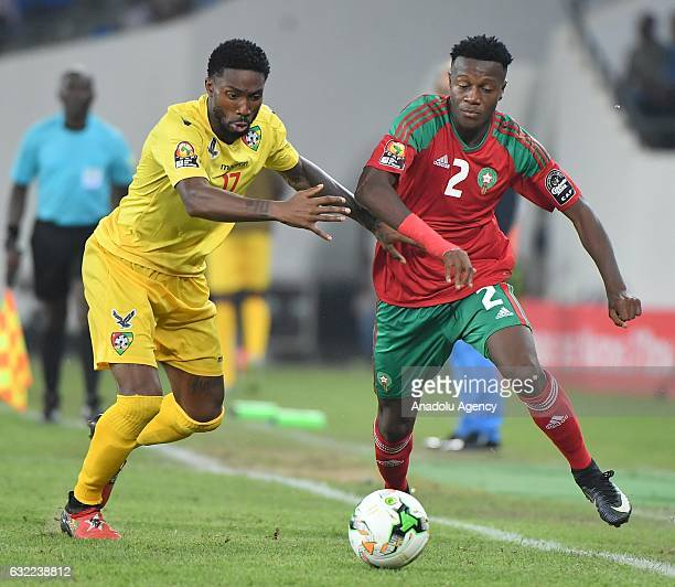 Morocco's Mendyl vies for the ball against Togo's Gakpe during the African Cup of Nations Group C soccer match between Morocco and Togo at the Stade...