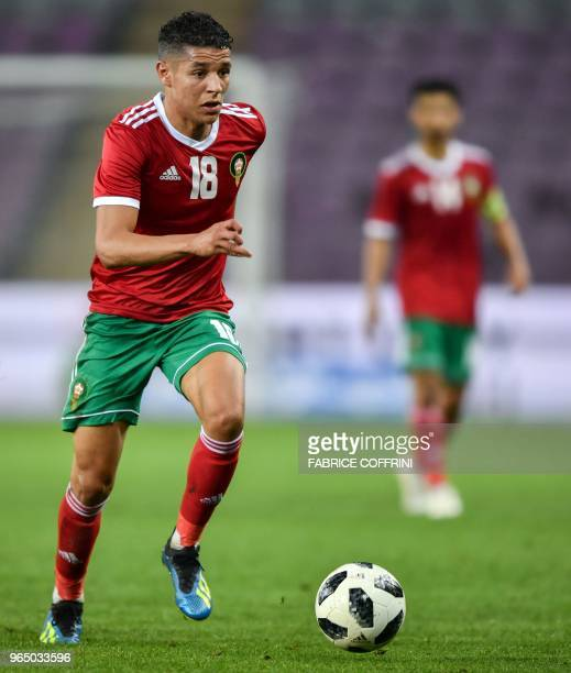 Morocco's midfielder Amine Harit controls the ball during the friendly football match between Morocco and Ukraine at the Stade de Geneve stadium in...