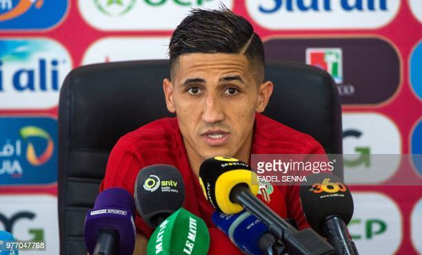 Morocco's midfielder Faycal Fajr addresses a press conference in Voronezh on June 17 2018 ahead of the Russia 2018 World Cup Group B football match...