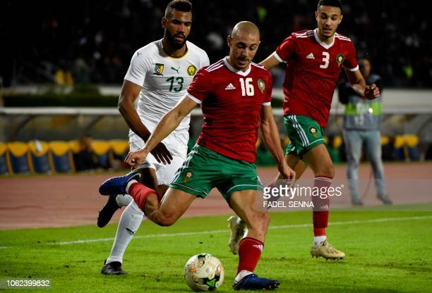 Morocco's midfielder Nordin Amrabat attempts a cross during the Africa Cup of Nations qualifier football match between Morocco and Cameroon at the...