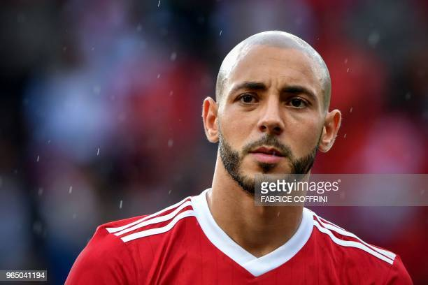 Morocco's midfielder Nordin Amrabat looks on prior to the friendly football match between Morocco and Ukraine at the Stade de Geneve stadium in...