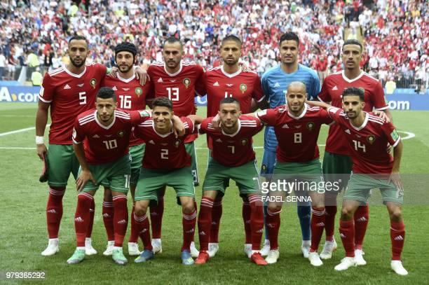 Morocco's midfielder Younes Belhanda Morocco's defender Achraf Hakimi Morocco's midfielder Hakim Ziyech Morocco's midfielder Karim El Ahmadi...
