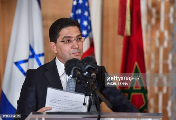 Morocco's Minister of Foreign Affairs Nasser Bourita speaks upon the arrival of the US Presidential advisor and Israeli National Security Advisor at...