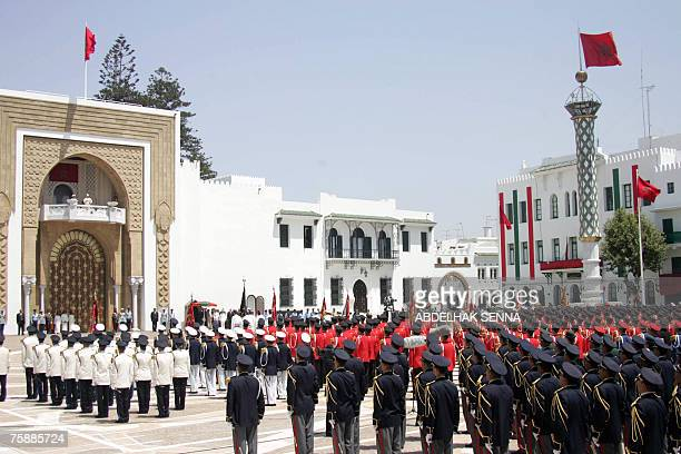 Morocco's Mohammed VI delivers a speech 31 July 2007 next to his brother Prince Moulay Rachid to members of the army at the Tetouan Palace in Morocco...