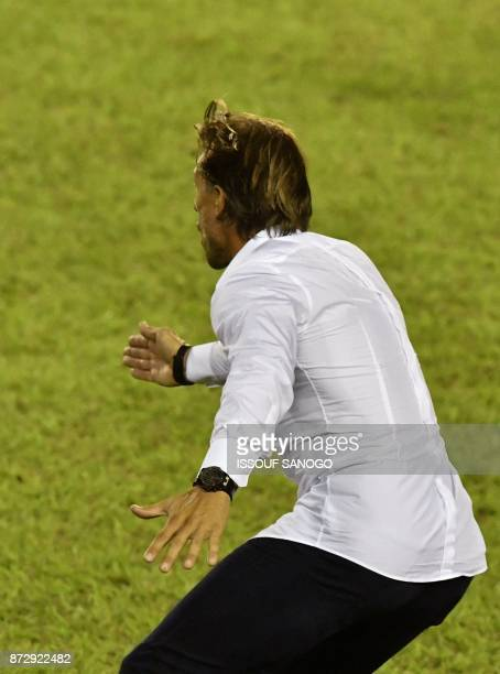 Morocco's National Football team French head coach Herve Renard gestures during the FIFA World Cup 2018 Africa Group C qualifying football match...