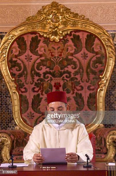 Morocco's new King Mohamed VI delivers his enthronement speech 30 July 1999 at the Royal Palace in Rabat one week after the death of his father King...