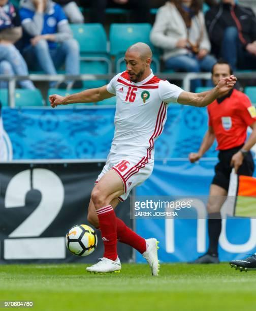 Morocco's Noureddine Amrabat plays the ball during the international friendly footbal match Estonia vs Morocco in Tallinn on June 9 2018
