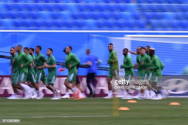 Morocco's players attend a training session at Saint Petersburg Stadium on June 14 ahead of the Russia 2018 World Cup football game Iran vs Morocco