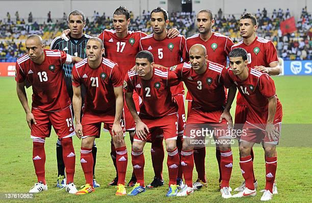 Morocco's players Houssine Kharja Noureddine Amrabat Michael Basser Badr el Kaddouri Mbark Boussoufa Nadir Lamyaghri Marouane Chamakh Mehdi Amine El...