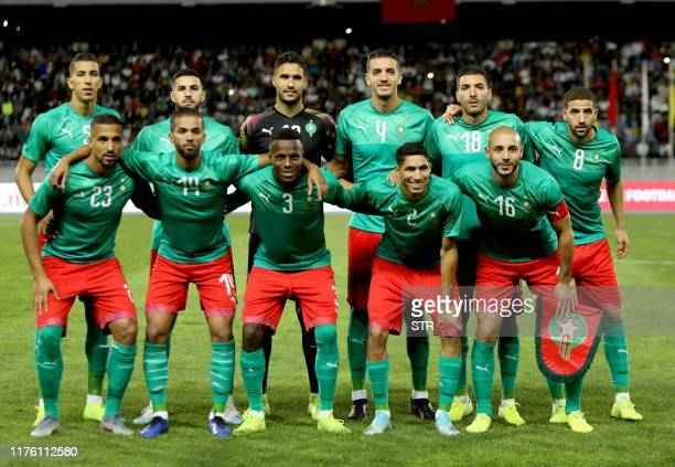 Morocco's players pose for a picture prior to the friendly football match between Morocco and Gabon in Tangier on October 15, 2019.