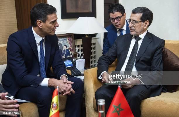 Morocco's Prime Minister Saad Eddine elOthmani meets with his Spanish counterpart Pedro Sanchez in the Moroccan capital Rabat on November 19 2018