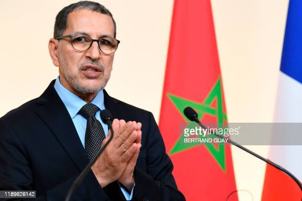 Morocco's Prime Minister Saad-Eddine El Othmani gives a joint press conference with his French counterpart following a Plenary Meeting of the High...