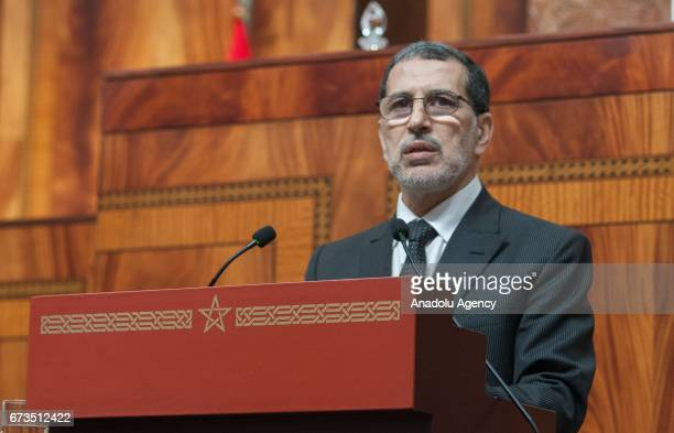 Moroccos Prime Minister Saadeddine Othmani addresses the lawmakers before the voting on his coalition government's program at the parliament in Rabat...