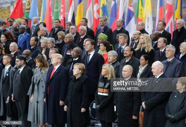 Morocco's Prince Moulay Hassan Moroccan King Mohammed VI US First Lady Melania Trump US President Donald Trump German Chancellor Angela Merkel French...