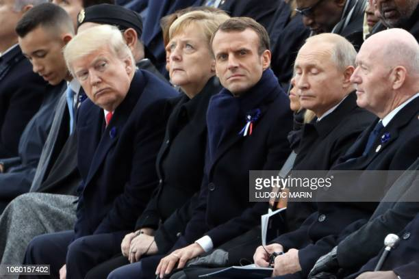 Morocco's Prince Moulay Hassan, Moroccan King Mohammed VI, US President Donald Trump and his wife US First Lady Melania Trump, German Chancellor...