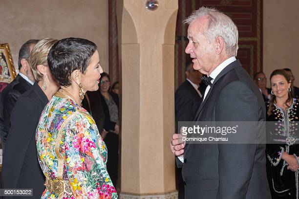 Morocco's Princess Lalla Meryem welcomes Bill Murray during the 15th Marrakech International Film Festival on December 5 2015 in Marrakech Morocco