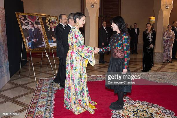 Morocco's Princess Lalla Meryem welcomes Carole Laure during the 15th Marrakech International Film Festival on December 5 2015 in Marrakech Morocco